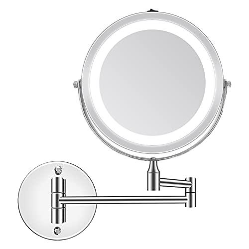 PTN Specchio Ingranditore con Luci, 1X/5X, Specchio Trucco, Specchio da Parete per Piega, Rotazione a 360 ° Specchio Bagno, per Bagno Hotel Spa