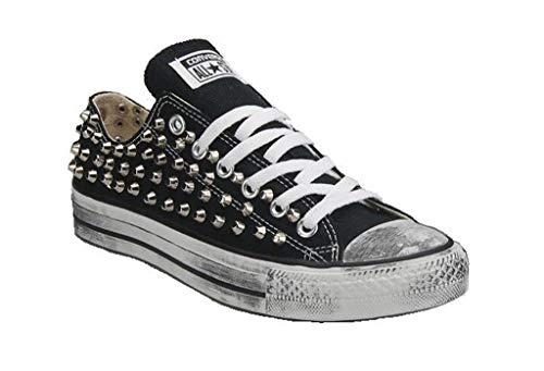 Scarpe Personalizzate Borchiate Sneakers Nera Bassa (Artigianali) con Borchie Tronco Cono Argento Effetto Invecchiato