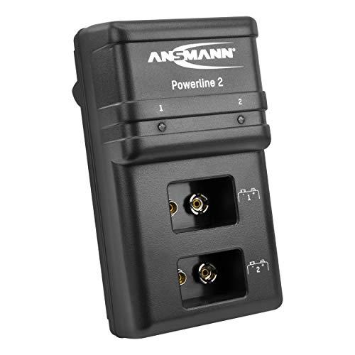 Ansmann 9V Ladegerät für E-Block Akkus NiMH - 9V Batterieladegerät mit Einzelschachtüberwachung, automatische Abschaltung, Erhaltungsladung - Powerline 2 Akkuladegerät, Schwarz