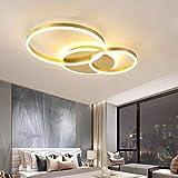 Decken Lampe LED Dimmbar mit Fernbedienung, Groß Wohnzimmerlampe Modern Deckenleuchte Lichtfarbe/Helligkeit Einstellbar Schlafzimmerlampe Acryl Metallrahmen Pendelleuchte (Gold, Decken-3-lampe, 54W)