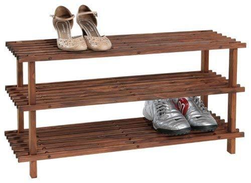 KESPER Chaussures 3 Niveaux étagère teinté foncé, Bois, Brun, 77 x 40 x 26 cm