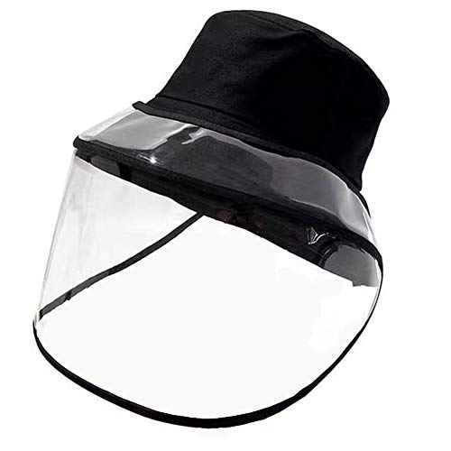 halinfer Fisherman Face Shield Hat for Women, Unisex Bucket Hat Detachable Face Shield Anti Dust and Protection for Face and Eyes Fisherman Cap Black
