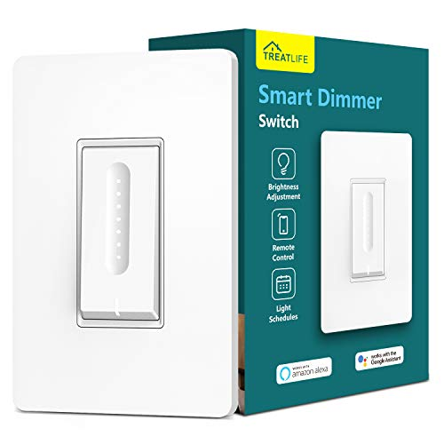 Smart Dimmer Switch, Treatlife WiFi Light Switch for Dimmable LED, Halogen and Incandescent Bulbs, Compatible with Alexa, Google Assistant, Remote Control, Single-Pole, Neutral Wire Required (1 Pack)