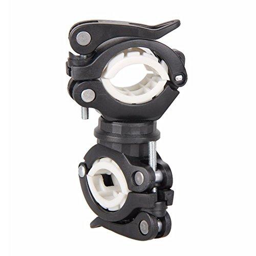 Breezeu 360 Grados Bicicleta giratoria luz de la Bicicleta Doble Soporte LED Frontal Linterna lampara Manejar de la Bomba Accesorios de Bicicleta Negro + Blanco