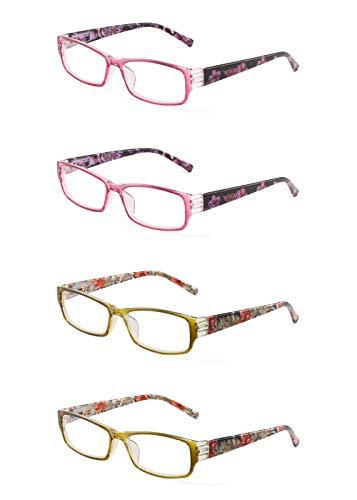JM 4 Pack Frau Lesebrille Federscharnier Mode Muster Leser für Damen +2.75 Rot & Gelb