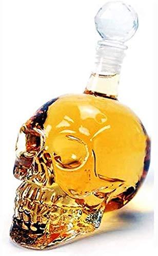 Cráneo de vino de vino Decantador de vino y gafas conjunto Whiskey CARAFE, gran creativo Whisky Antter Bar Skull Aeroator Jarrafe con tapa de sellado Botella de vodka para licor Scotch Bourbon Vino o