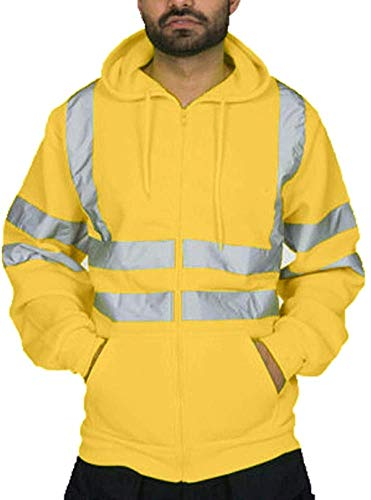 Bomber Jacket Workwear Safety Security Hooded Padded High Visibility Reflective Taped Seams Work Coat