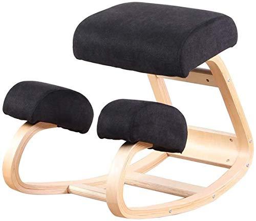 Ergonomischer Stuhl hinknien Verstellbare Bürohocker hinknien Posture Spine Tension Relief Orthopädische Gleichgewicht Sitz Thick Knees Kissen Sessel (Color : Black)