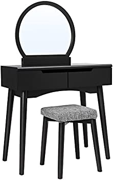 Vasagle Makeup Dressing Table with Round Mirror, Cushioned Stool