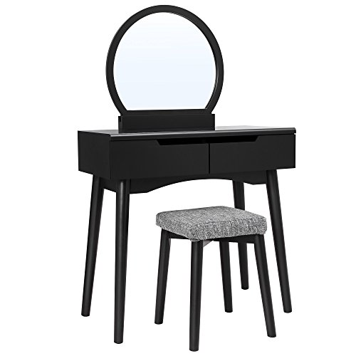 VASAGLE Vanity Table Set with Round Mirror 2 Large Drawers with Sliding Rails Makeup Dressing Table with Cushioned Stool, Black URDT11BK