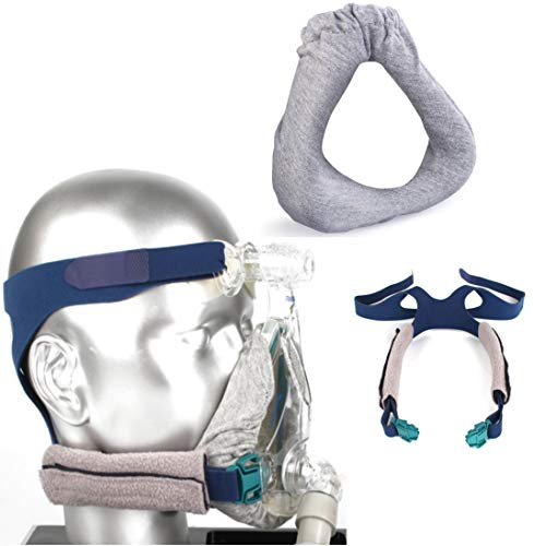 Kontact Full Face CPAP Mask Liners and Headgear Strap Covers Washable Soft Sleep Mask Protector System Prevents Pressure Lines and Air Leaks for a Comfortable Nights Sleep