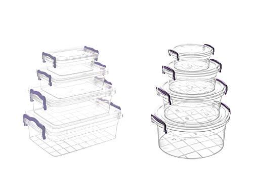 MAGY Lot de Boîte Alimentaire Plastique Récipients en Plastique Conteneur Alimentaire avec couvercles 16 pièces (8 récipients + 8 couvercles) - sans BPA