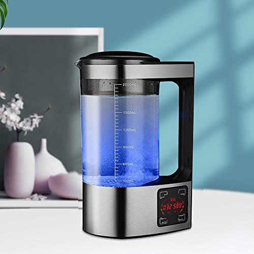 TTLIFE 2L Wasserstoffreiche Wasserflasche mit großer Kapazität Tragbarer Wasserionengenerator Wasserstoff-Wassergenerator mit digitaler LED-Anzeige der Thermostat-Touch-Steuerung