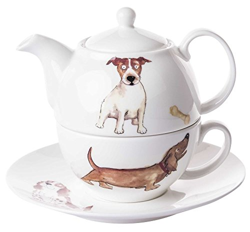Roy Kirkham Dogs Tea for One Teekanne, Tasse und Untertasse