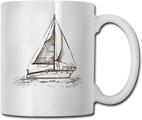 Taza de té con diseño de velero en el mar con texto en inglés «Sailboat in the Se»