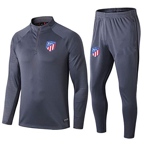 LZMX Club Uniformen Atletico Madrid Fußball Spieler Anzug Leichtathletik-Wettbewerb Trainingsanzug Herren Fitness-Anzug Die Hälfte Reißverschluss Zweiteiliger Anzug (Size : S)