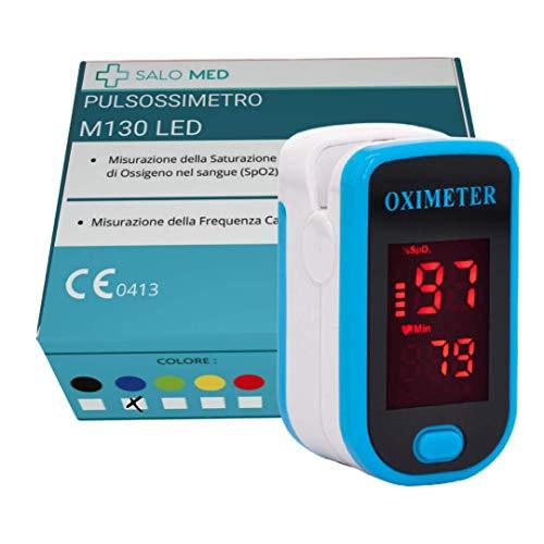 SALO MED - Pulsoximeter für die Fingerspitze, Blutsauerstoffsättigung Messer für Pulsfrequenz, Herzfrequenzmesser und SpO2-Werte mit LED-Bildschirmanzeige und Batterien (BLAU)