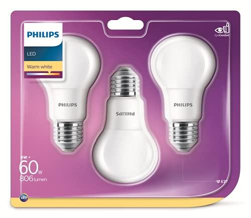 Philips LED60SMB3 - Lampadine LED Goccia E27, 8 W, Bianca Caldo, 3 Unità