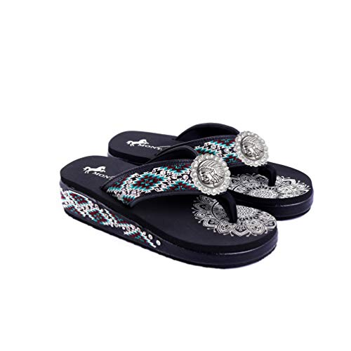 Montana West American Patriotic Womens Flip Flops Western Embroidered Studded Comfort Wedge Sandals Shoes for Women Black- SEF03-S184BK-8