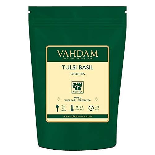 Tulsi Grüne Teeblätter aus Indien, Köstliche detox Mischung aus grünem Tee gemischt mit frischen Basilikum Blättern, KRAFTVOLLE ANTIOXIDANTIEN, 100% Natürliche Tulsi Tee, (Green Tea) Tee 200g