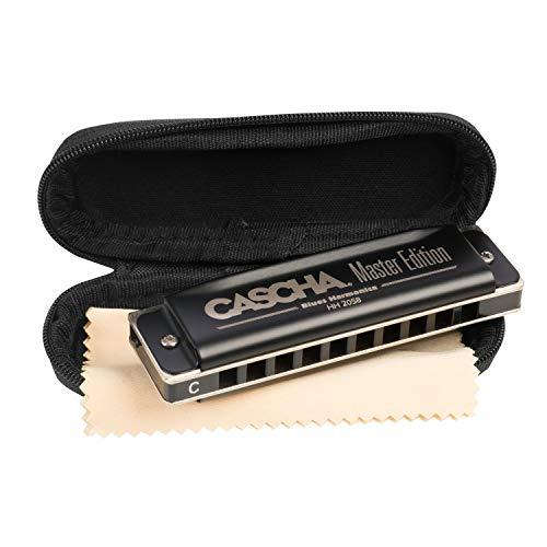 CASCHA Master Edition Blues Harmonica, hochwertige Mundharmonika in C-Dur mit Soft Case und Pflegetuch, Blues Organ