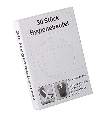 PE-Hygienebeutel mit Kunststoffspender als Set, Hygienebeutelspender inklusiv Hygienetüten für Damenbinden, weiß, chrom, Farbe:weiß
