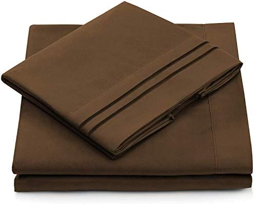 Queen Size Bed Sheets – Chocolate Luxury Sheet Set – Deep Pocket – Super Soft Hotel Bedding – Wrinkle & Stain Resistant – Dark Brown Queen Sheets – 4 Piece