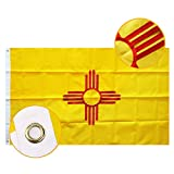 FLAGBURG New Mexico Flag 3x5ft, NM State Flag, Zia Flag with Heavy Duty Embroidered,Outdoor Indoor All Weather 210D Nylon Burgee The Land of Enchantment Flag with Strong Canvas Header/Brass Grommets