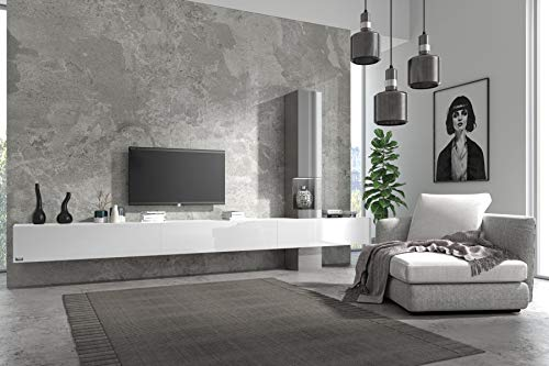 Wuun® Somero Vitrine /360cm/ Weiß-Matt/Weiß-Hochglanz TV Boards/Vitrine Grau-Matt und Grau Hochglanz Wohnwand/Tv Board/Lowboard