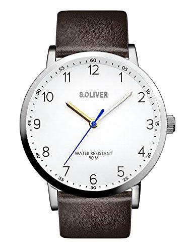 s.Oliver Herren Analog Quarz Uhr mit Leder Armband SO-3480-LQ