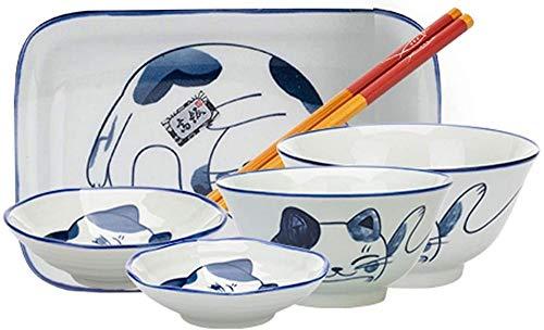ZGYZ Juego de vajilla de 6 Piezas con Serie Pintada de Azul,Cuenco de arroz,Plato,vajilla,Caja de Regalo para 1 Persona,vajilla (Gato Azul)