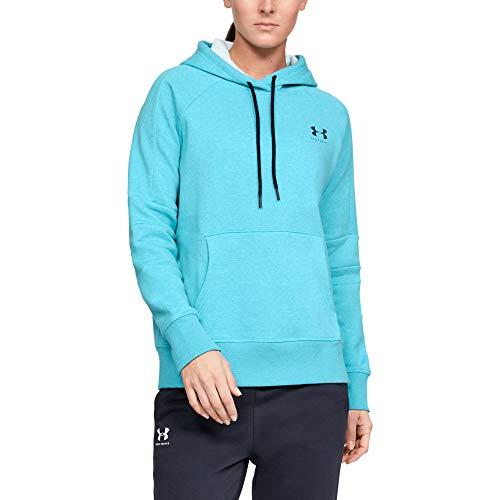 Under Armour Rival Fleece LC Logo Hoodie Novelty Haut Femme, Bleu, XL