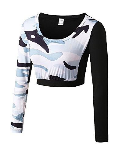 Mesdames Fitness Yoga Vêtements Sport Course Formation Rosée Navel Skinny À séchage Rapide Camouflage À Manches Longues