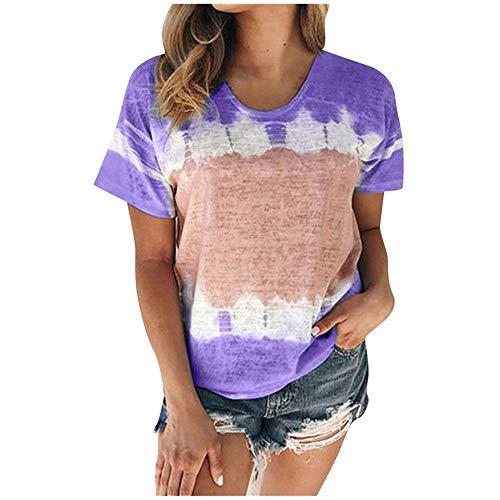 Aniywn Plus Size T-Shirt,Women Summer Casual O-Neck Short Sleeve Printing Patchwork Tunic Tops Basic Shirts Purple