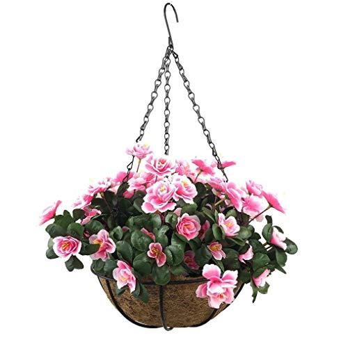 Yosposs Fleurs Artificielles à suspendre paniers Kz9524-w769 extérieur artificielle Rouge Azalée Bush Fleur Patio pelouse Jardin Panier à suspendre avec chaîne Pot de fleurs, Jaune extérieur/intérieur Pour Maison/décoration de jardin