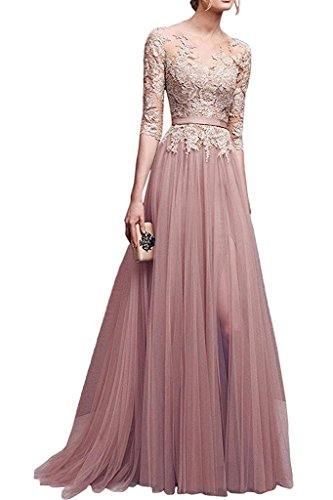 MisShow Hochwertig Damen lang Abendkleid Partykleider CocktailKleid Spitzenkleid Tuell 3/4 Arm Gr.36