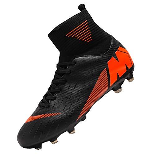 Botas de Fútbol de los Hombres de Niño de Alta Parte Superior de Calcetín de Pinchos de Fútbol Zapatos de Fútbol de Niños Tacos de Entrenamiento Profesional, color Negro, talla 39 1/3 EU