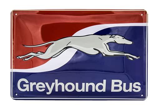Greyhound Bus - hochwertig geprägtes Retro US Vintage Blechschild, Wandschild, Küchen Deko, 30 x 20 cm