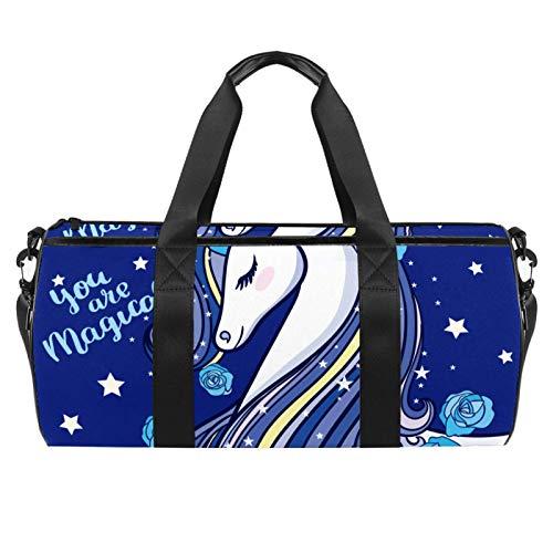 LAZEN Hombro Handy Sports Gym Bags Travel Duffle Totes Bag para hombres, mujeres, eres mágico, hermoso, unicornio, rosa azul