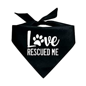 Tees & Tails Love Rescued Me Adoption Rescue Dog Triangle Dog Bandana (Assorted Colors)