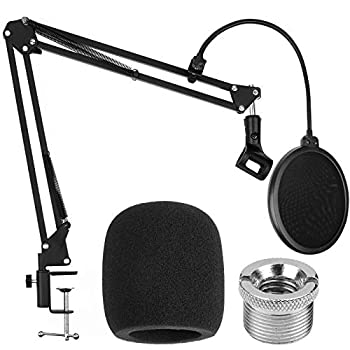 Mic Stand Compatible with Blue Yeti,ChromLives Microphone Arm Stand with Double Layer Pop Filter,Adjustable Suspension Boom Scissor Arm Stand,Combo Desk Mic Stand Kits for Most Mics