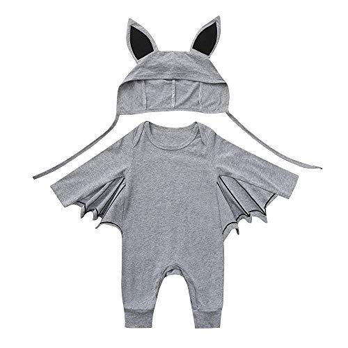 Longra Bébé Garçon Fille Halloween Barboteuse Mode Bat Manches Longues Mignon Romper Bébé Barboteuse avec Costume Barboteuse Hiver Dessin animé Oreille Chapeau Tenues Ensemble(GrisA,24Months)
