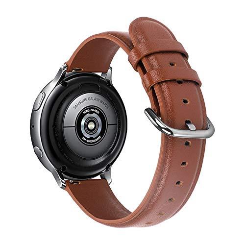 BAAIFC Correa de piel auténtica de 20 mm y 22 mm para Samsung Galaxy Watch 42 mm 46 mm Active 2 Gear S3 Correa para Huawei Watch GT (color de la correa: marrón, ancho de la correa: 22 mm)