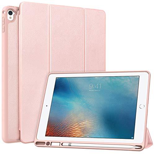 MoKo Hülle Passend für iPad Pro 9.7, Weich Slim Ledertasche mit Auto Sleep/Wake up Funktion und Standfunktion Stift Steckplatz - Rose Gold