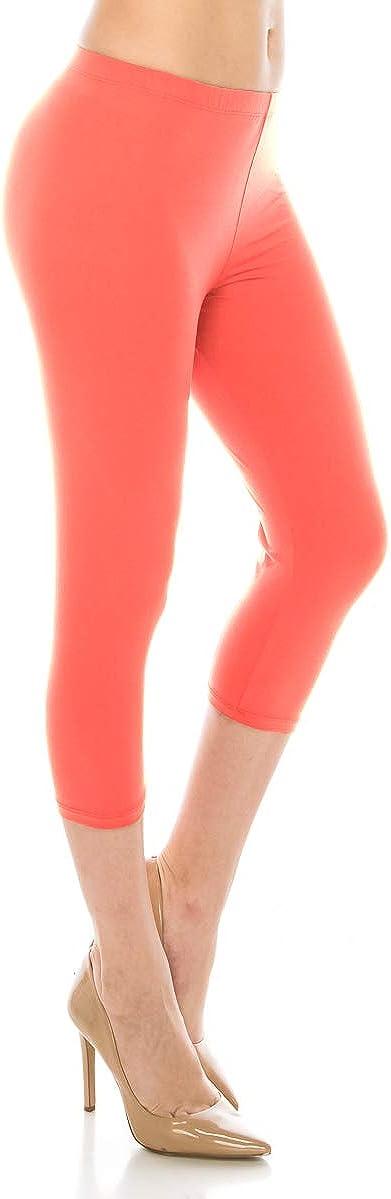 ALWAYS Women Basic Capri Leggings - 1 Inch Waistband Solid Buttery Lightweight and Breathable Capri Length Leggings