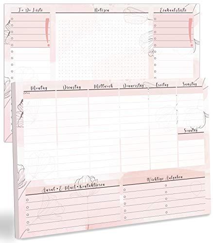 blaash® Wochenplaner Block DIN A4 ohne festes Datum   50 Seiten Planer mit Wochenübersicht, Listen für Aufgaben, Notizen & Ideen   Optimale Organisation & Motivation im Alltag   Tischkalender quer