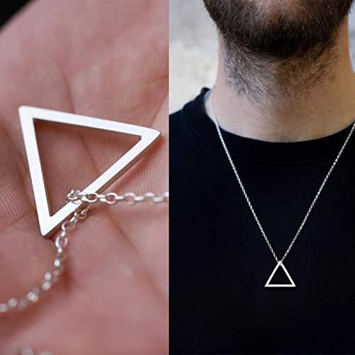 mengnuo Pendentif Homme Triangle CARRÉ pour Hommes Collier Streetwear en Acier Inoxydable Moderne Tendance GÉOMÉTRIQUE