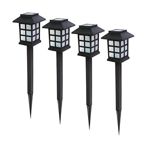 Baliza solar LED de jardín. Set 4 uds. Luz blanca cálida. Encendido automático con sensor de luz. Altura 38 cm. Pica de tierra incluida. Resistente al agua IP44