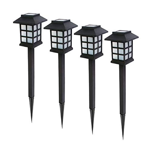 Baliza solar LED de jardín. Set 4 uds. Luz blanca cálida. Encendido automático con sensor de luz....