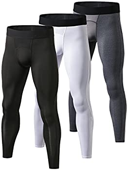 Yuerlian Men s Compression Pants Cool Dry Baselayer Tights Leggings 3 Pack